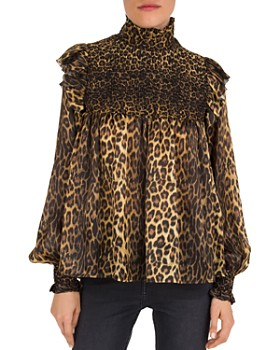 The Kooples - Leopard Print Smocked Top