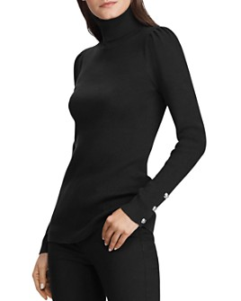 Ralph Lauren - Puff-Shoulder Ribbed Turtleneck Sweater