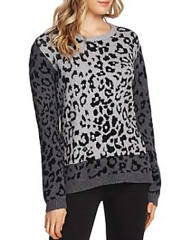 VINCE CAMUTO - Color-Block Leopard-Jacquard Sweater