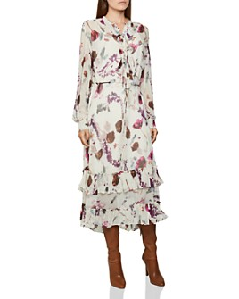 REISS - Aster Romantic Floral Print Midi Dress