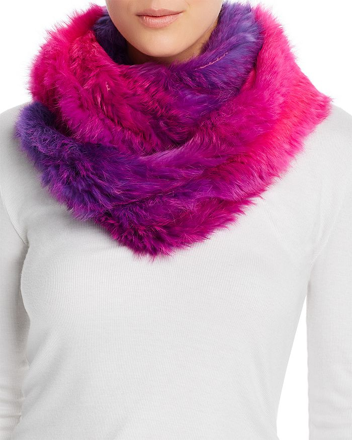 Jocelyn - Ombré Knit Rabbit-Fur Infinity Scarf