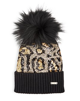 GiGi - Girls' Cheetah-Print Sequin Rabbit Fur Pom-Pom Hat - 100% Exclusive