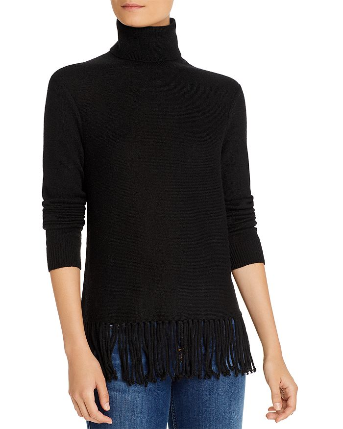 C by Bloomingdale's - Fringe-Trim Cashmere Turtleneck Sweater - 100% Exclusive
