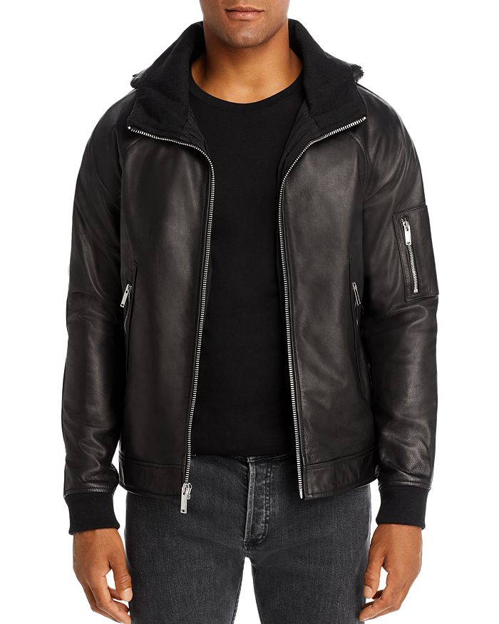 KARL LAGERFELD PARIS - Leather Hidden-Hood Jacket