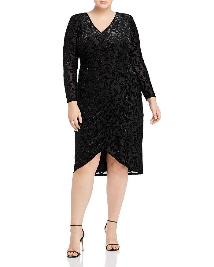 Adrianna Papell Plus - Metallic-Velvet-Burnout Faux-Wrap Dress