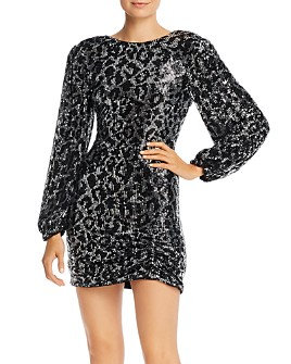 Saylor - Sequined Leopard Long Sleeve Mini Dress