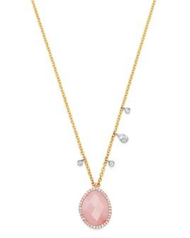 "Meira T - 14K Yellow & White Gold Guava Quartz & Diamond Necklace, 18"""