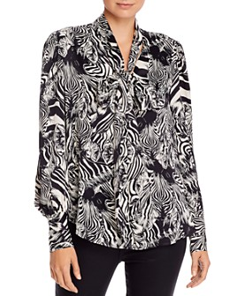 7 For All Mankind - Zebra Print Tie-Neck Top