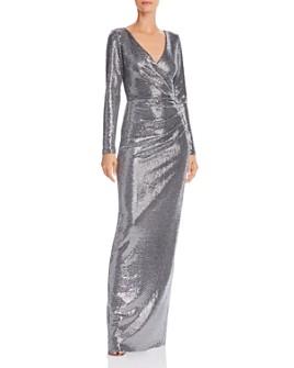 AQUA - Faux-Wrap Sequin Gown - 100% Exclusive
