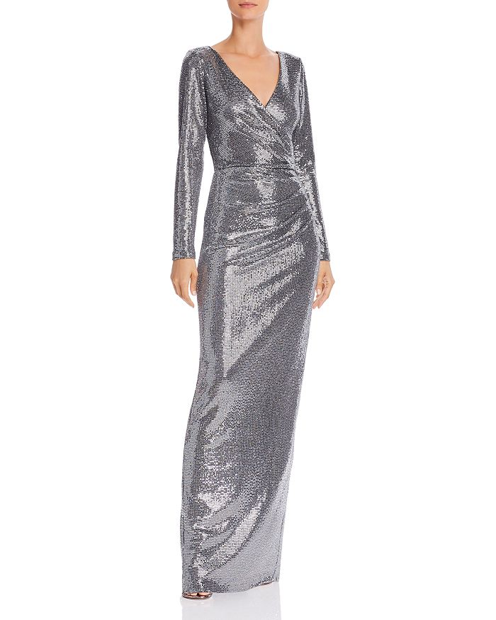 AQUA - Faux-Wrap Sequin Gown - 100% Exclusive