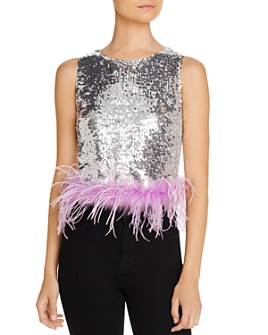 Lucy Paris - Embellished-Hem Sequined Top - 100% Exclusive
