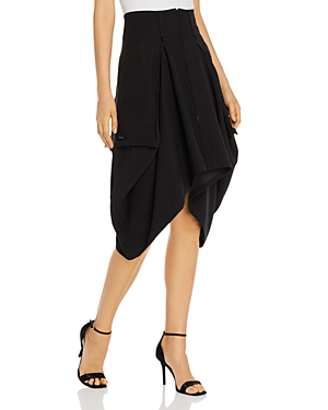 Snider Zip-Front Asymmetric-Hem Skirt