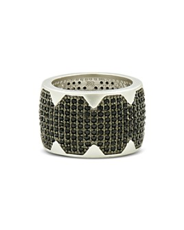 Freida Rothman - Industrial Finish Pavé Cigar Ring in Rhodium-Plated Sterling Silver