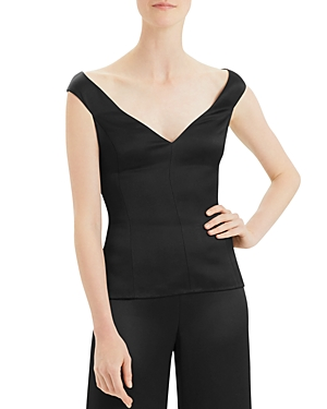 Theory Crepe Paneled Off-the-Shoulder Top-Women