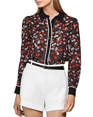 Reiss Tops POPPY FLORAL PRINT BLOUSE