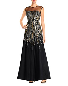 Aidan Mattox - Metallic Beaded Illusion Gown