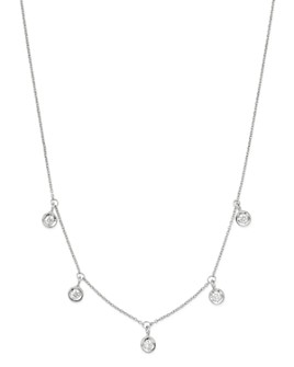Roberto Coin - 18K White Gold Diamonds By The Inch Dangling Droplet Necklace, 18""