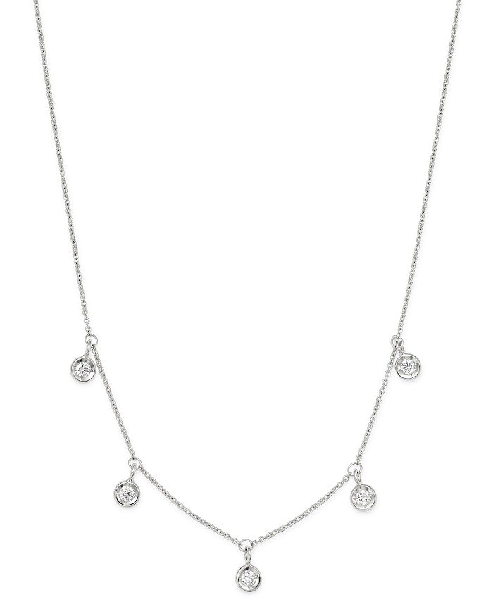 """Roberto Coin - 18K White Gold Diamonds By The Inch Dangling Droplet Necklace, 18"""""""