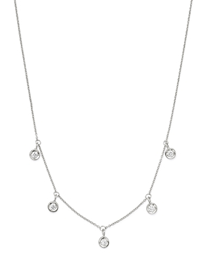Roberto Coin 18K White Gold Diamonds By The Inch Dangling Droplet Necklace, 18