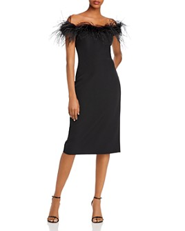 MILLY - Cady Feather-Trimmed Off-the-Shoulder Dress