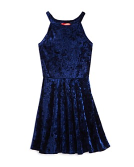 AQUA - Girls' Crushed Velvet Fit-and-Flare Dress, Big Kid - 100% Exclusive