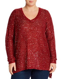 JUNAROSE Plus - Sequined V-Neck Sweater