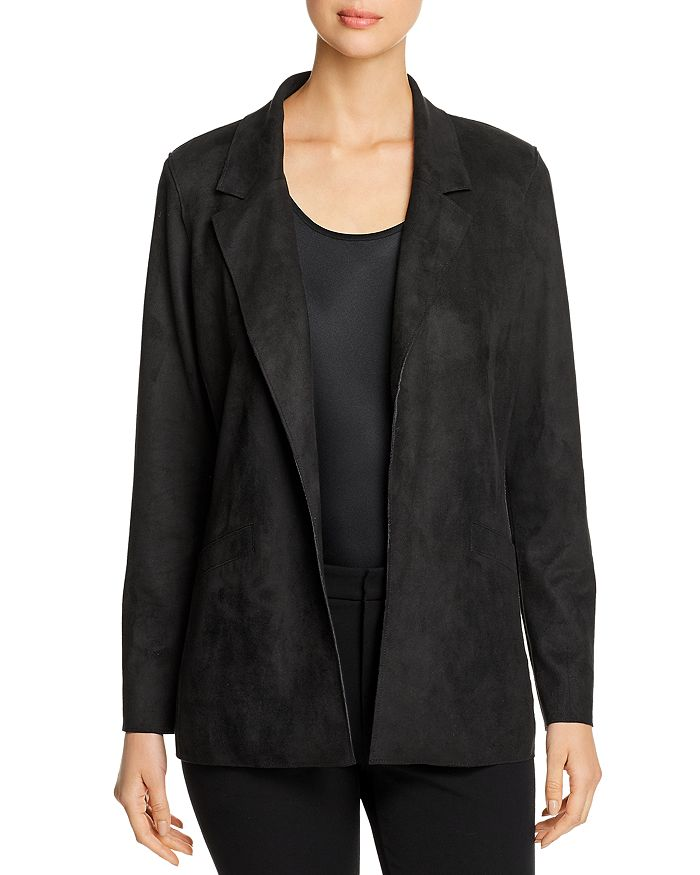 Level 99 Rachel Faux-suede Blazer In Black
