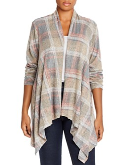 B Collection by Bobeau Curvy - Amie Plaid Waterfall Cardigan