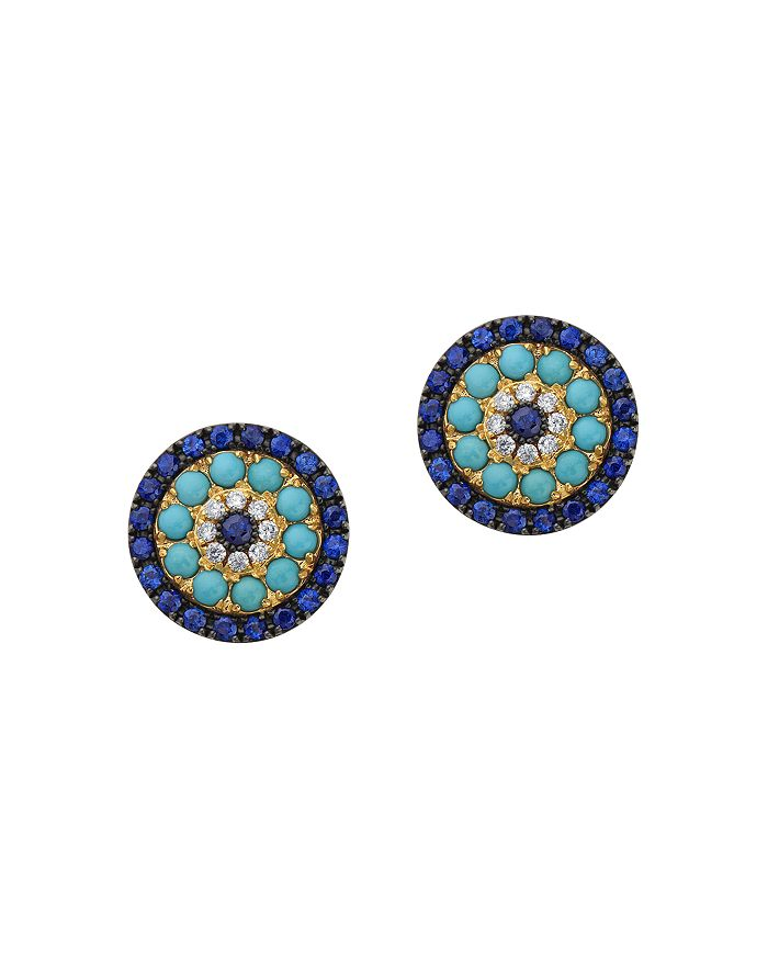 Bloomingdale's - Diamond, Blue Sapphire & Turquoise Stud Earrings in 14K Yellow Gold - 100% Exclusive
