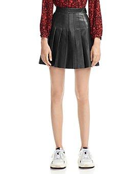 Maje - Jabaki Pleated Leather Mini Skirt