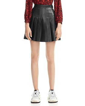 Maje - Jabaki Pleated Leather Mini Skirt
