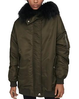 Maje - Gero Faux-Fur Trim Bomber Jacket