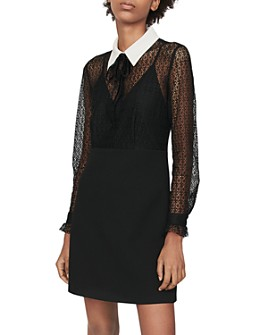 Maje - Ramoni Contrast-Collar Lace Mini Dress