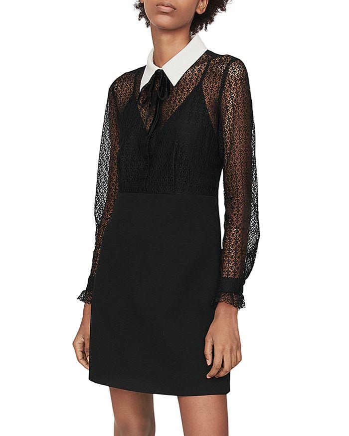 Maje - Ramoni Contrast-Collar Lace Mini Dress