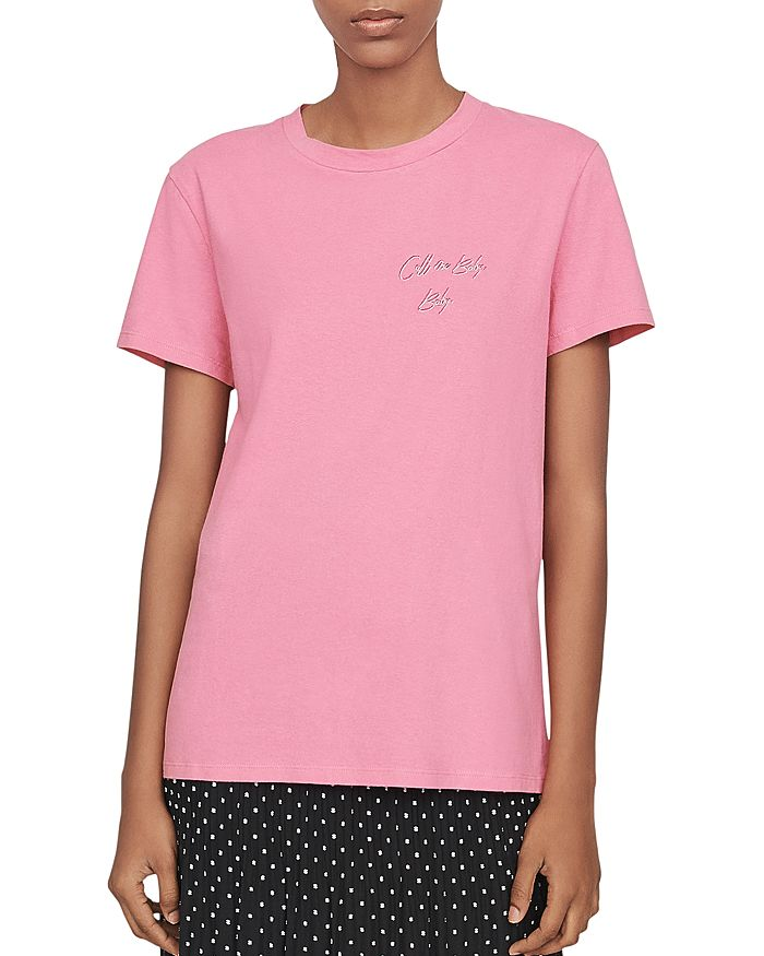 Maje Taby Embroidered Call Me Baby, Baby Tee In Pink