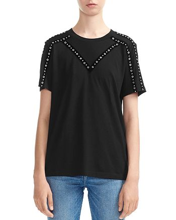 Maje - Tabloid Studded & Grommeted Tee