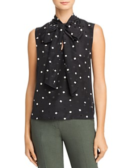 Theory - Scarf-Neck Dot Print Silk Top