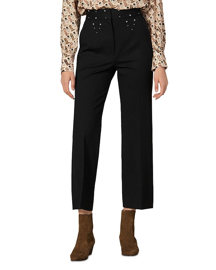 Sandro - Studdy Straight Ankle Pants