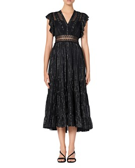 Sandro - Dona Metallic-Stripe Midi Dress
