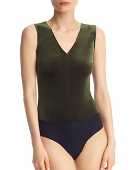 Commando - Velvet V-Neck Sleeveless Bodysuit