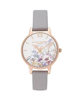 Olivia Burton - Enchanted Garden Gray Lilac Leather Strap Watch, 30mm