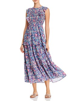 Banjanan - Iris Smocked Floral-Print Maxi Dress