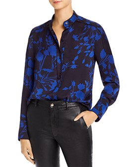 Equipment - Piped Floral-Print Top