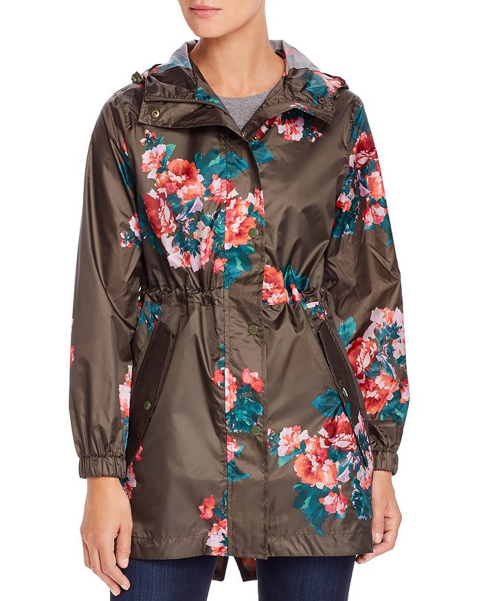Joules Golightly Packable Floral Print Raincoat In Khaki Rose