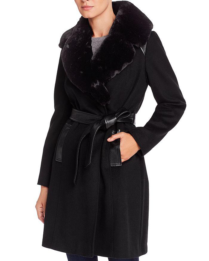 Via Spiga - Belted Faux Fur-Collar Wool-Blend Coat