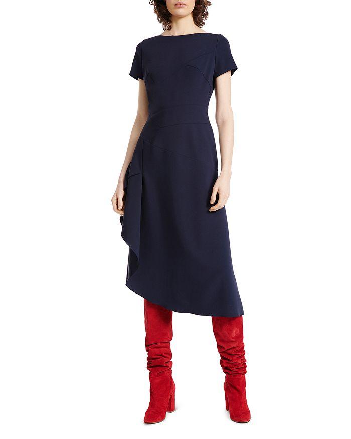 PAULE KA - Crepe-Backed Asymmetric Midi Dress
