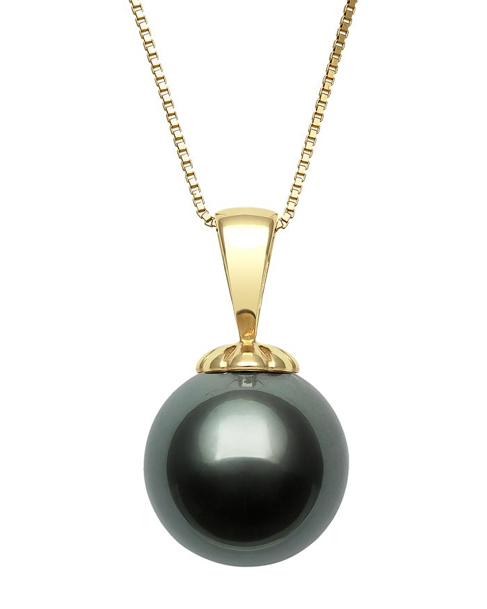 """Bloomingdale's - Tahitian Black Pearl Pendant Necklace in 14K Yellow Gold, 18"""" - 100% Exclusive"""