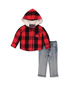 7 For All Mankind -  Boys' Plaid Hooded Shirt & Jeans Set - Little Kid