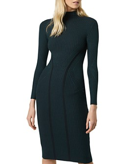 FRENCH CONNECTION - Simona Striped & Ribbed Body-Con Dress