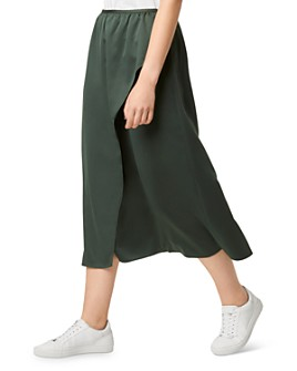 FRENCH CONNECTION - Alessia Faux-Wrap Satin Midi Skirt